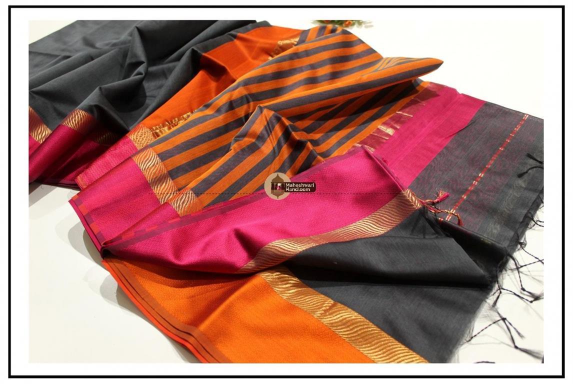 Maheshwari Charcol Black Ganga jamuna Border Saree