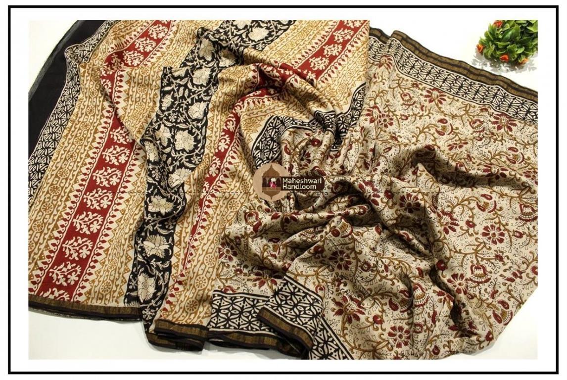 Maheshwari Tussar Batik Printed saree