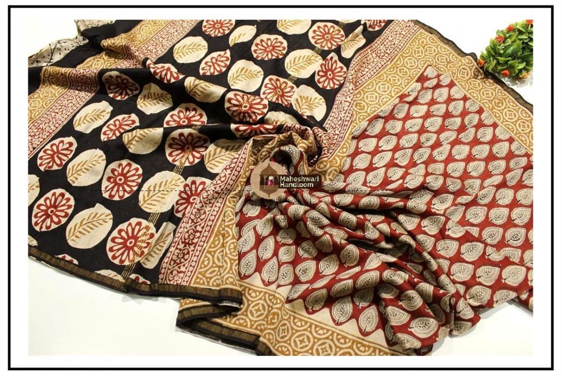 Maheshwari Maroon Red Batik Print saree