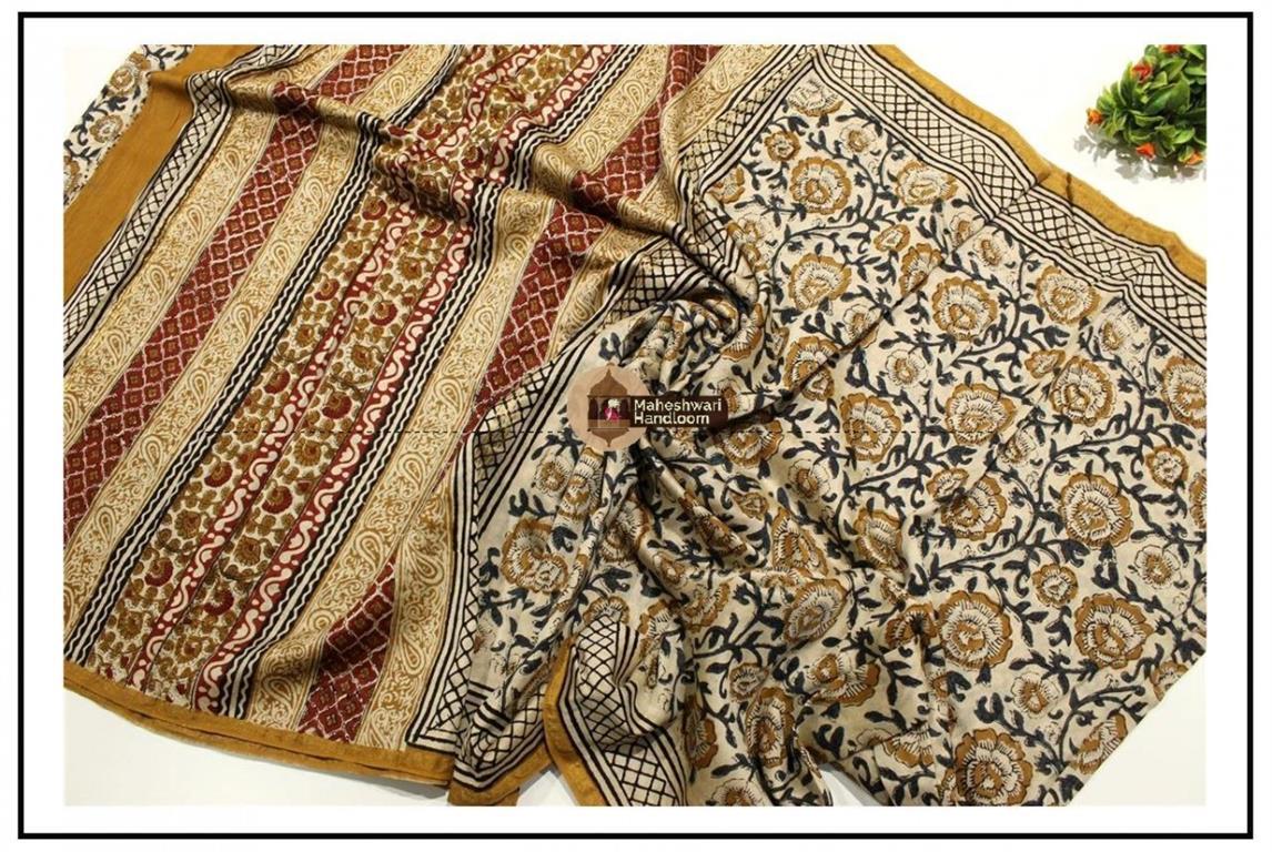Maheshwari Offwhite Batik Print saree