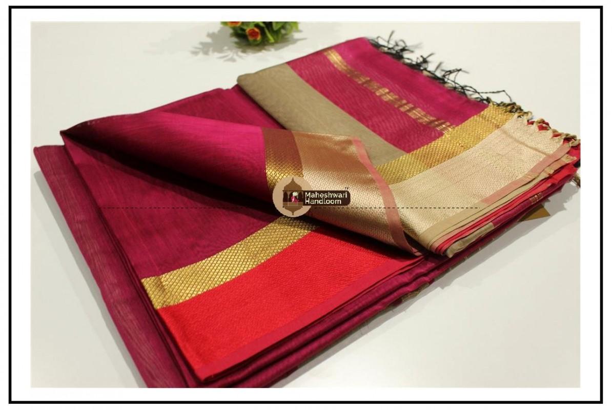 Maheshwari Rani Pink Resham skirt Border saree