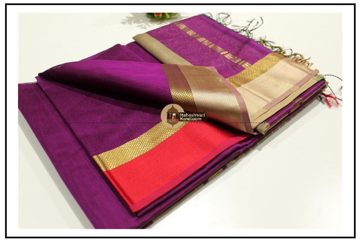 Maheshwari Magenta Resham skirt Border saree