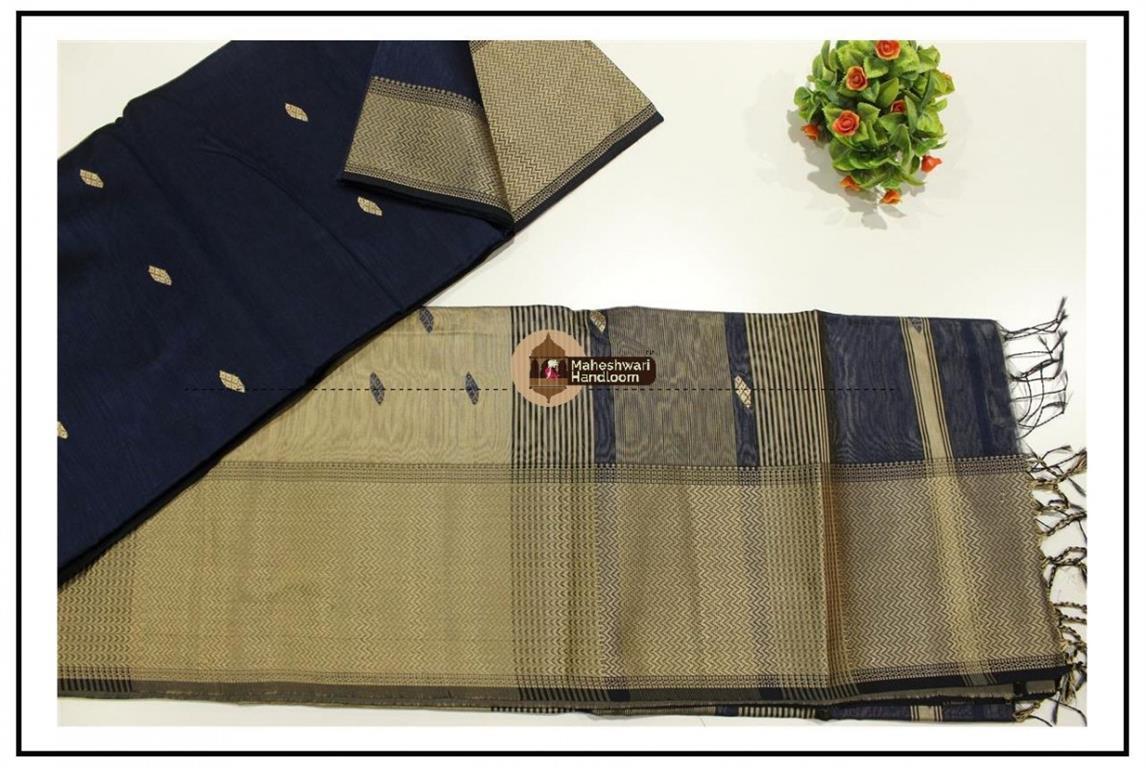 Maheshwari Navy Blue  Resham Buti- Motifs Saree