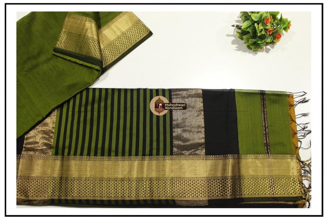 Maheshwari Green Jari Diamond Chatai Saree