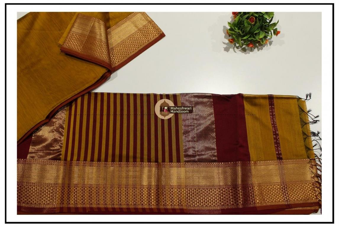Maheshwari  Mustard Yellow Jari Diamond Chatai Saree