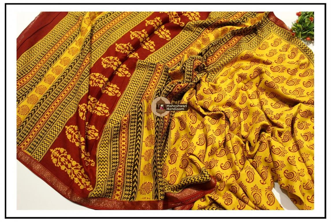 Maheshwari  Yellow Bagh Print Saree