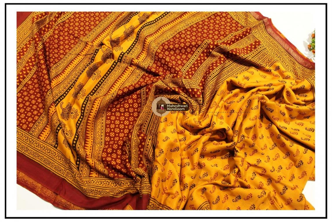 Maheshwari Golden Yellow Bagh Print Saree