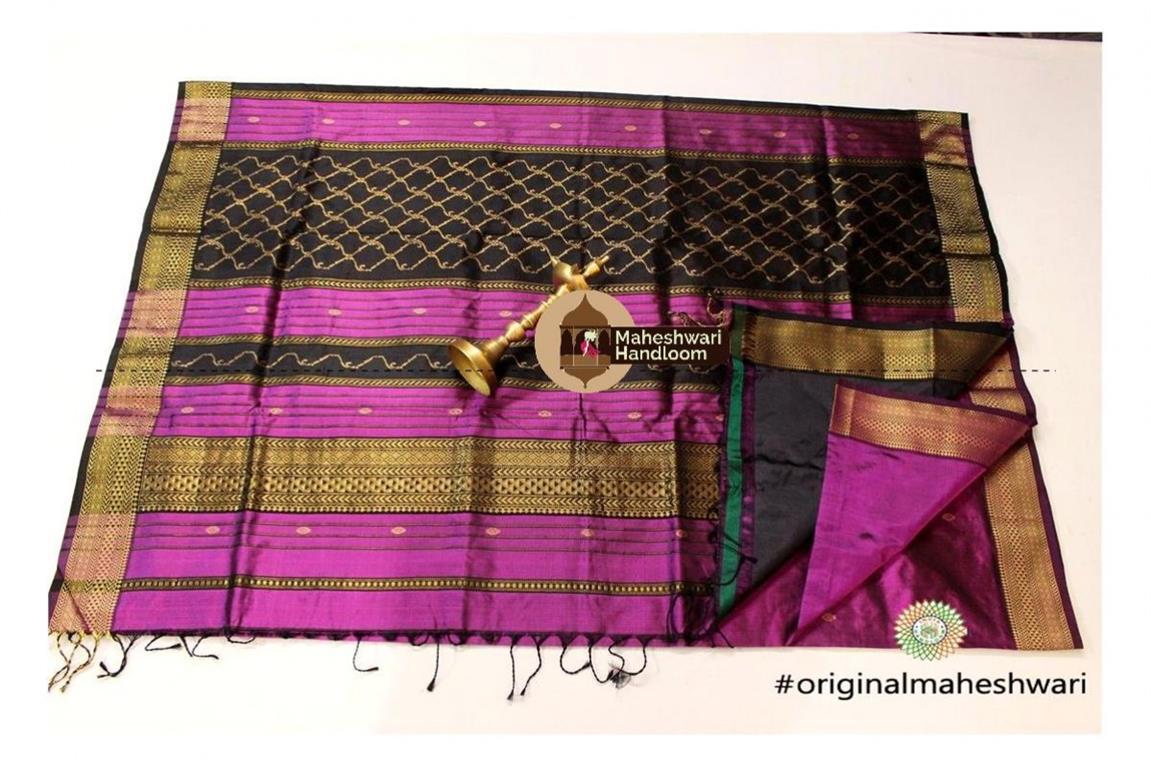 Maheshwari Magenta Pure Silk Saree