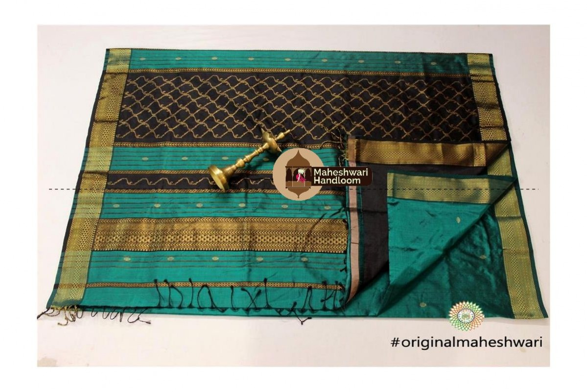 Maheshwari Rama Green Pure Silk Saree