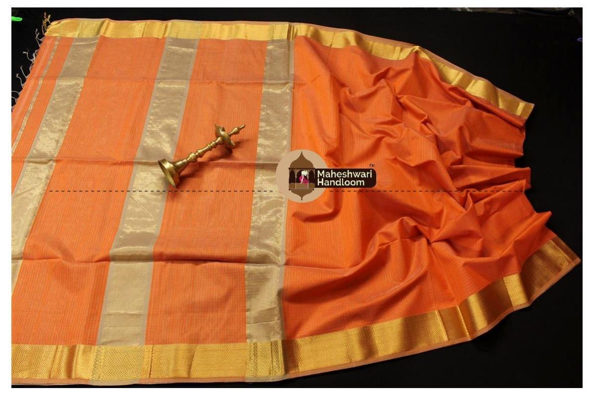 Maheshwari Light Orange Checks Body Saree
