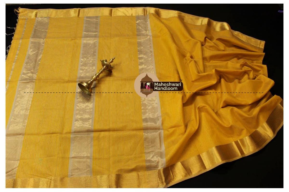 Maheshwari Mustard Yellow Self Checks Body Saree