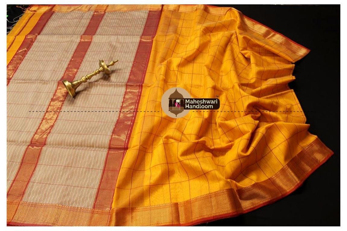 Maheshwari Yellow Self Checks Body Saree