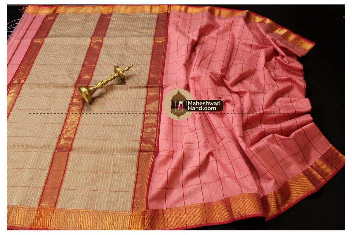 Maheshwari Dark Pink Self Checks Body Saree
