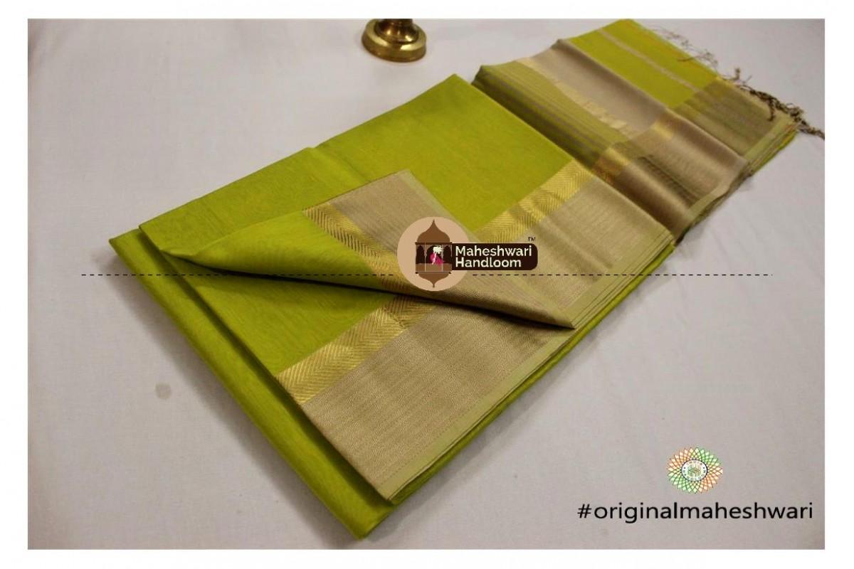 Maheshwari Parrot Green Jari Resham saree