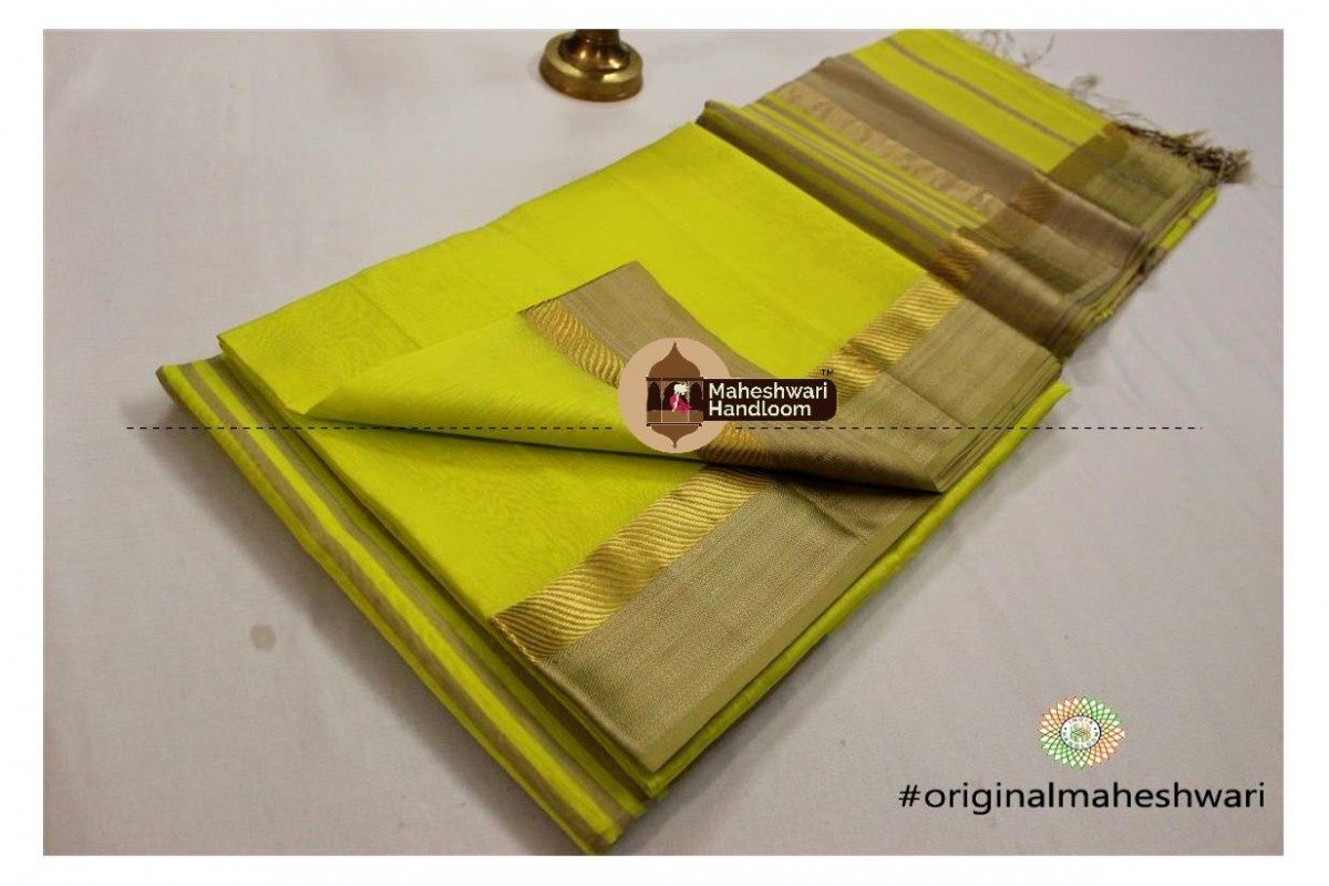 Maheshwari Light Green Jari Resham saree