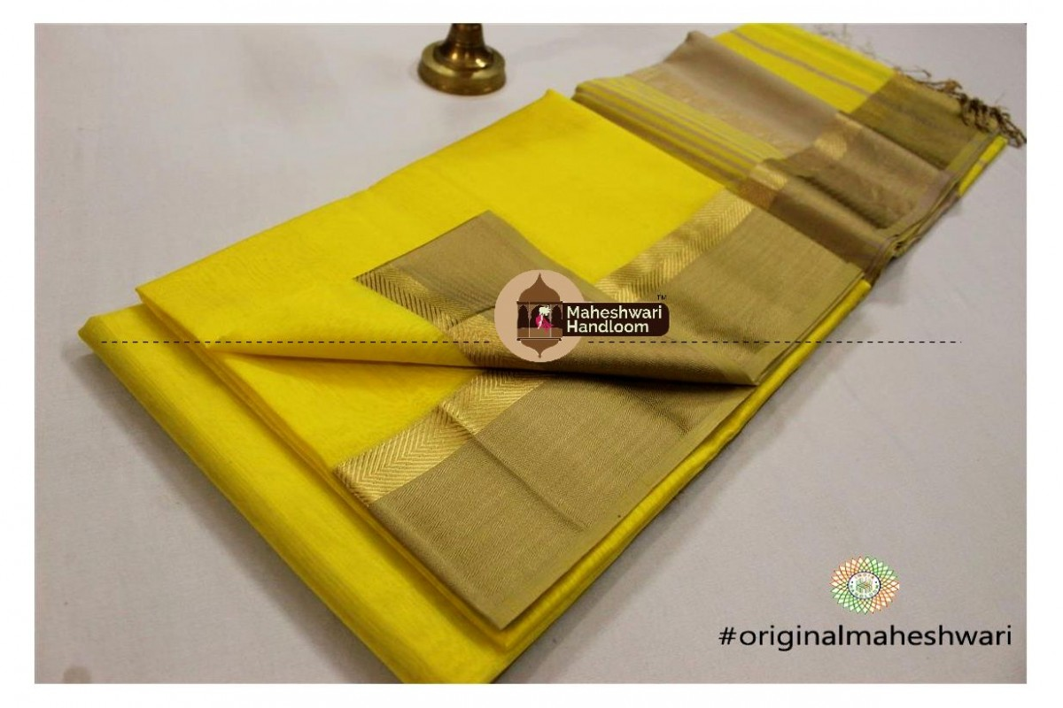 Maheshwari Yellow Jari Resham saree