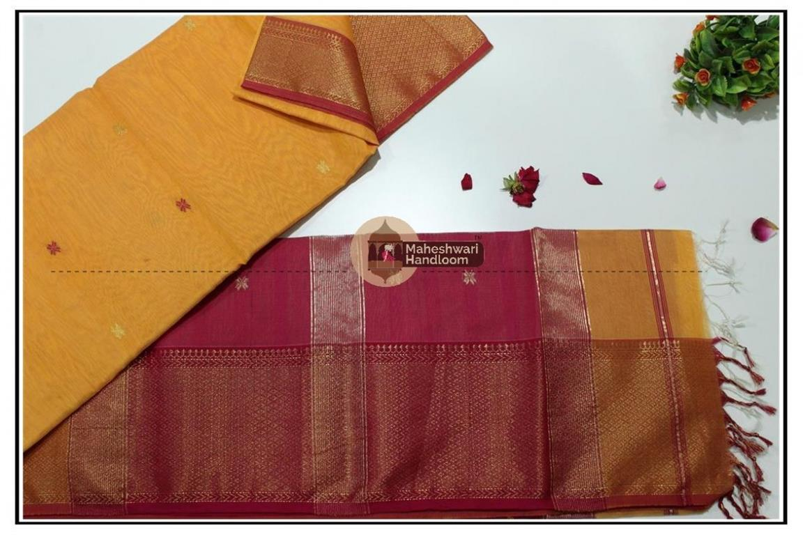 Maheshwari Yellow jari Skirt Buti Weaving saree