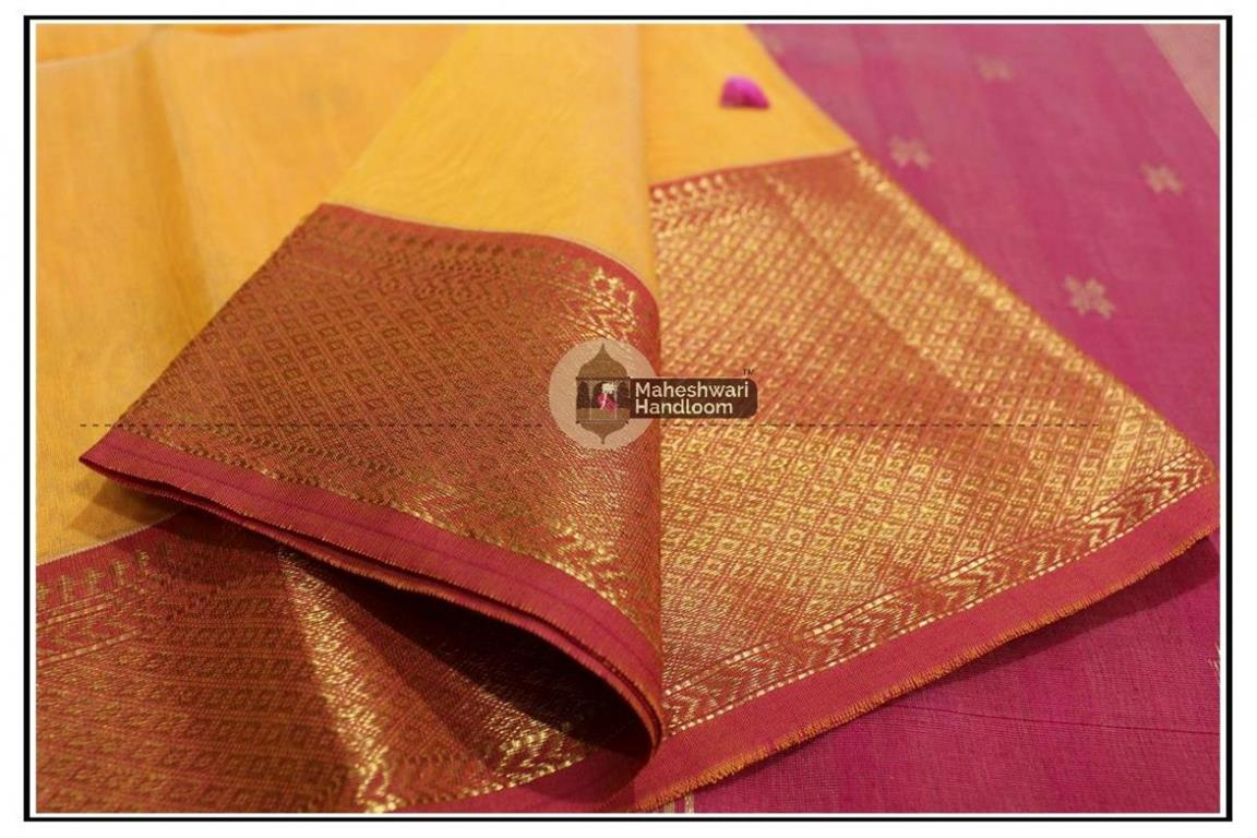 Maheshwari Yellow jari Skirt Buti Weaving saree
