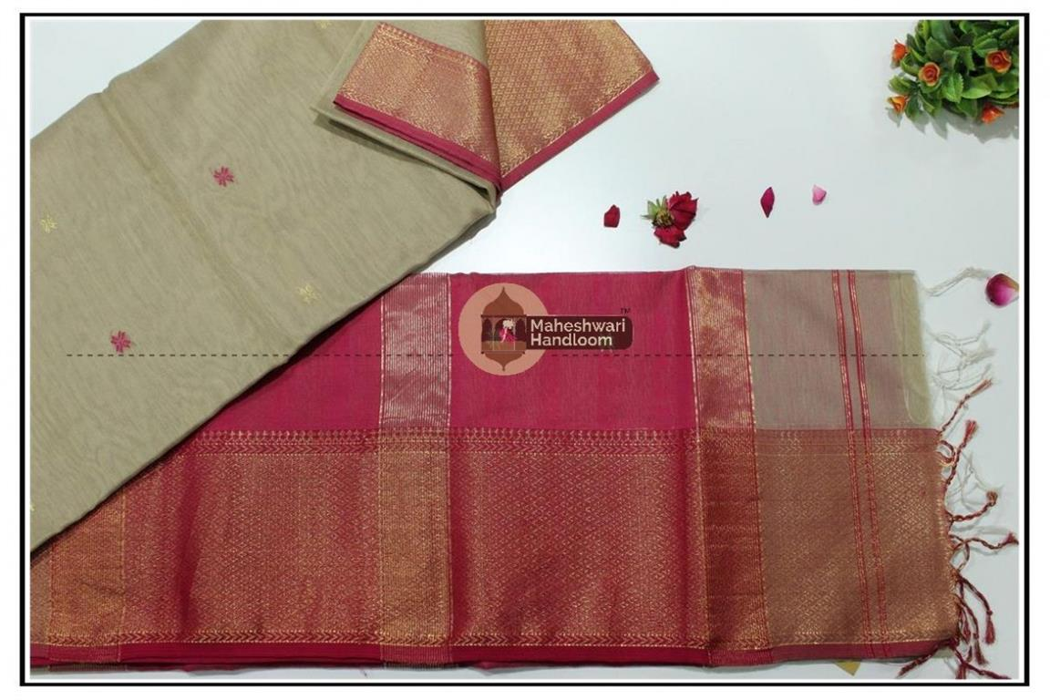 Maheshwari Tussar jari Skirt Buti Weaving saree