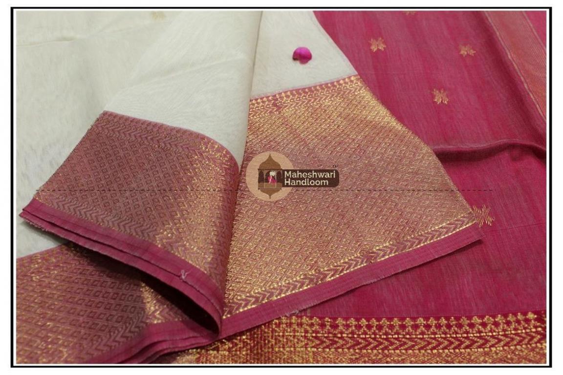 Maheshwari White jari Skirt Buti Weaving saree
