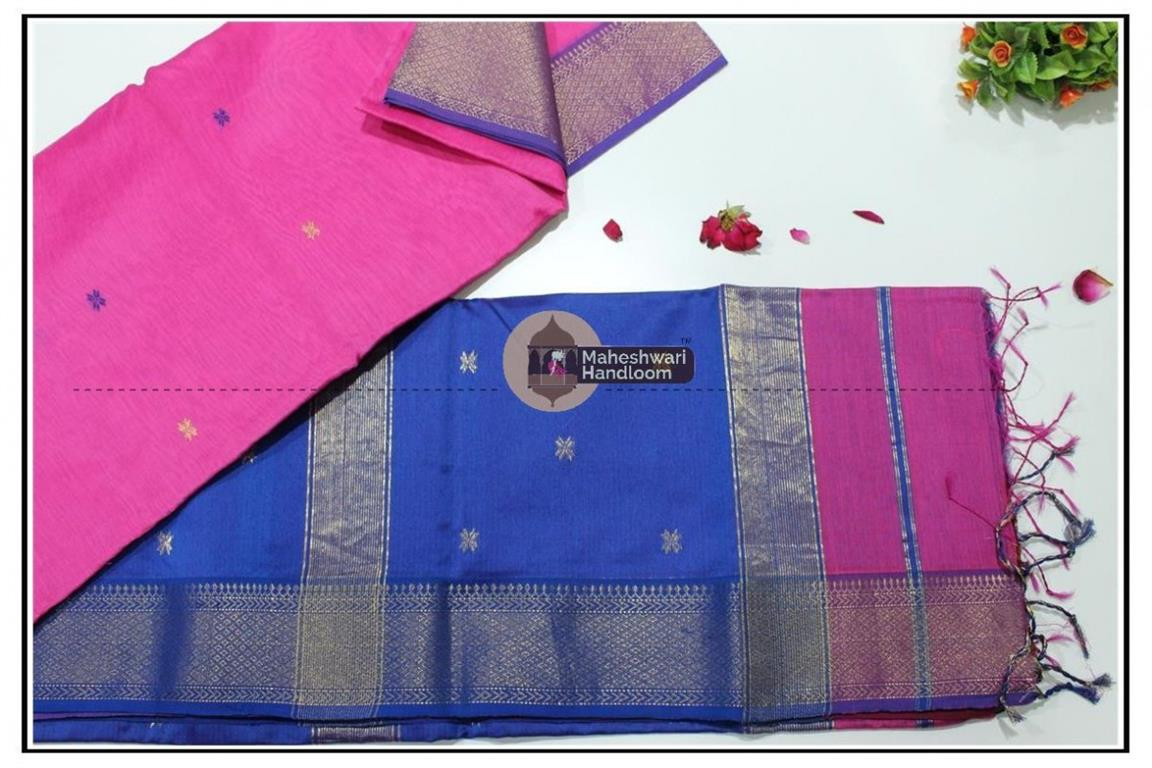 Maheshwari Pink jari Skirt Buti Weaving saree