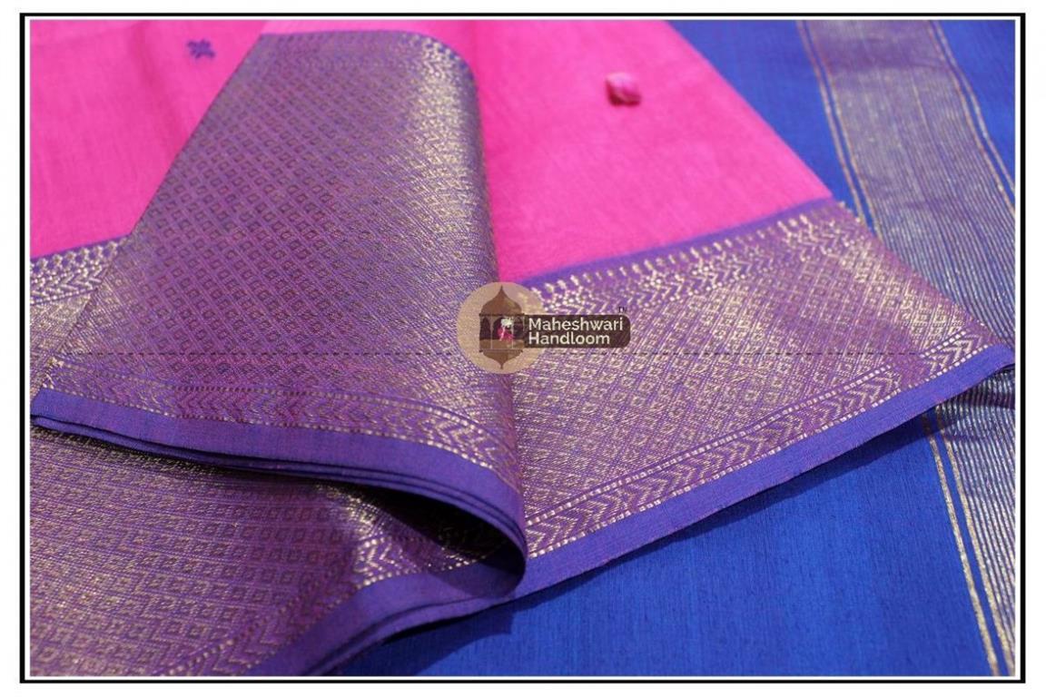 Maheshwari Pink jari Skirt Buti Weaving saree