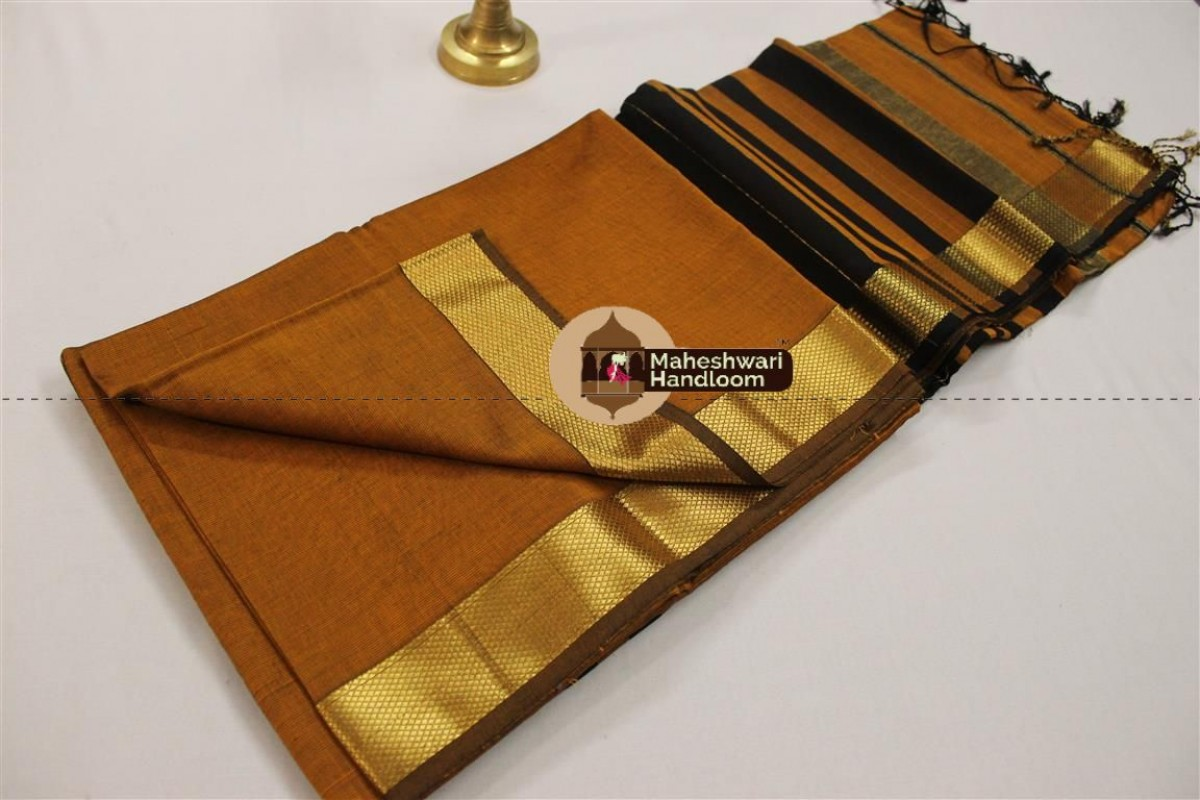 Maheshwari  Mustard Yellow Jari Border Saree