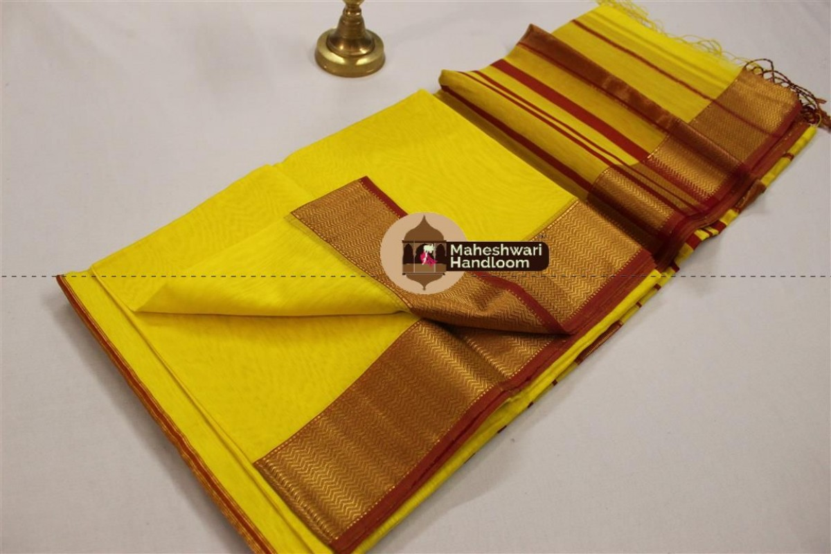 Maheshwari Yellow Jari Border Saree