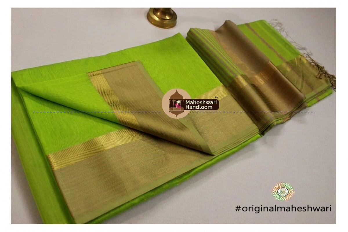 Maheshwari  Green Jari Resham saree