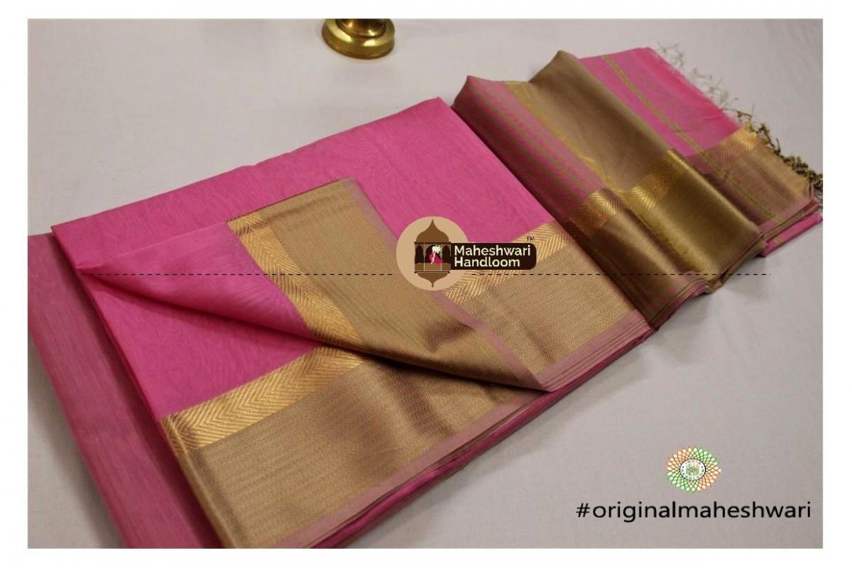 Maheshwari Pink  Jari Resham saree