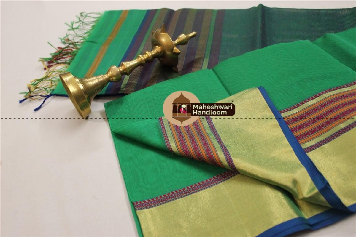 Maheshwari Green Jari Border Saree