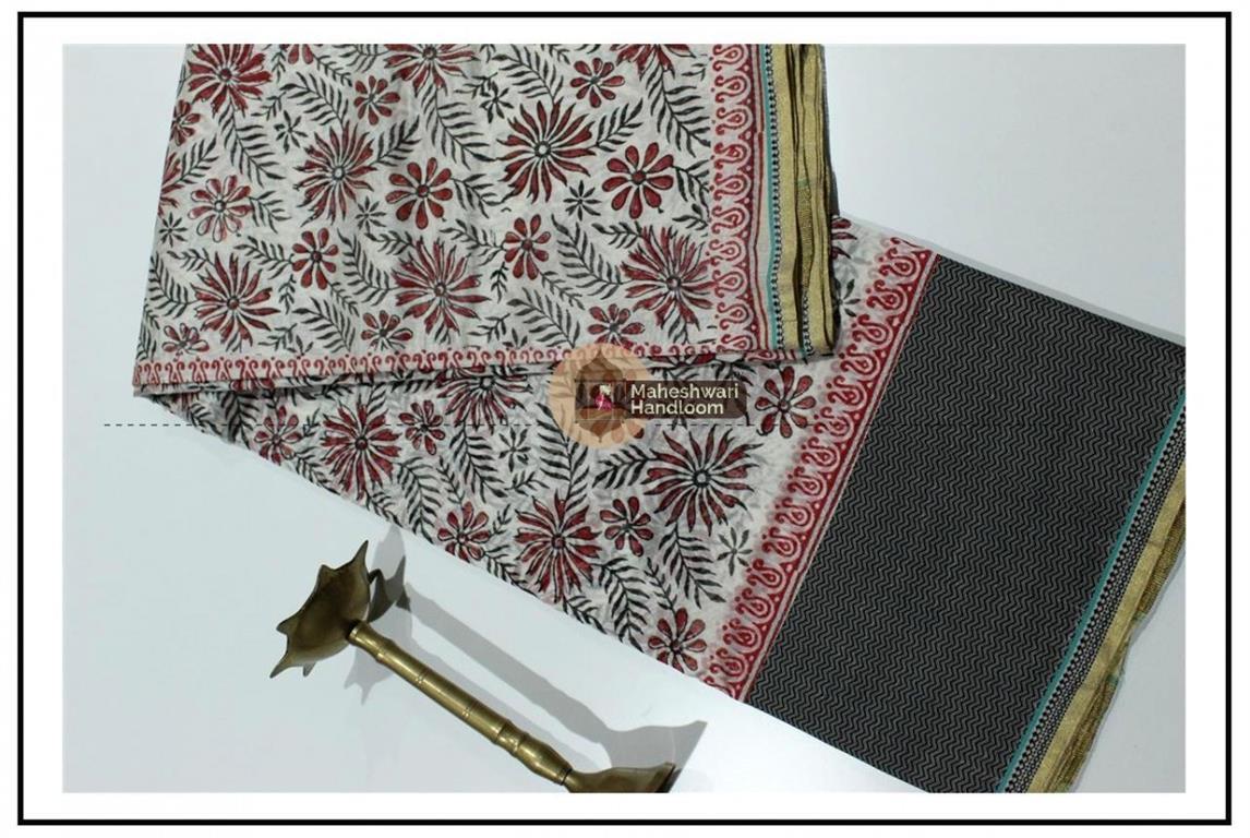 Maheshwari Grey Handblock Print Saree
