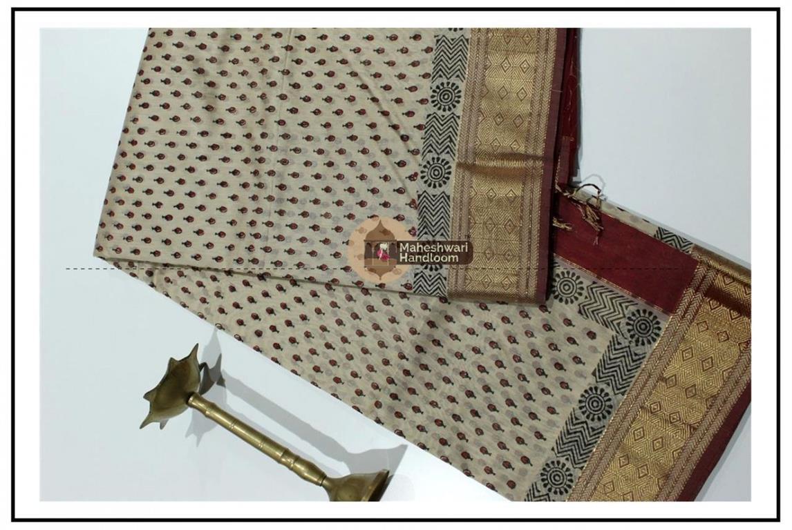Maheshwari Tussar Handblock Print Saree