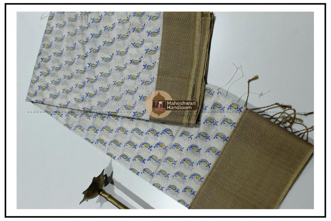 Maheshwari White Handblock Print Saree
