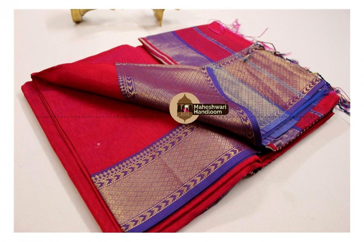 Maheshwari Rani Jari Diamond Chatai saree
