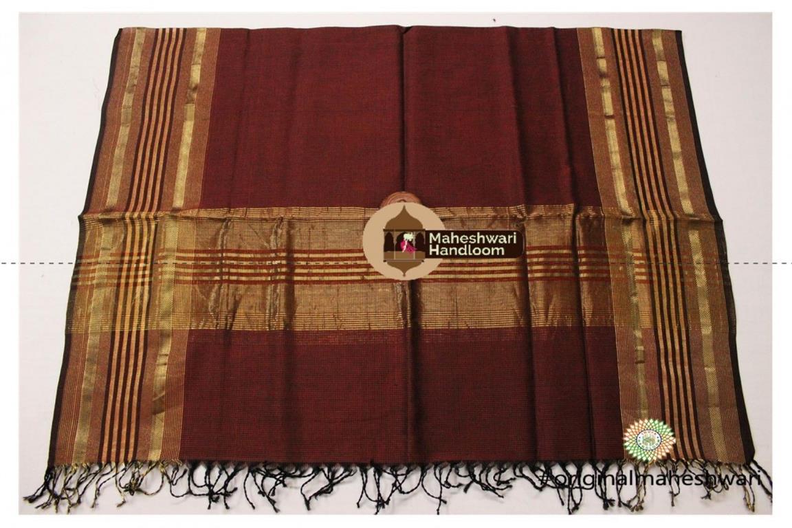 Maheshwari Brown Silk Dupatta