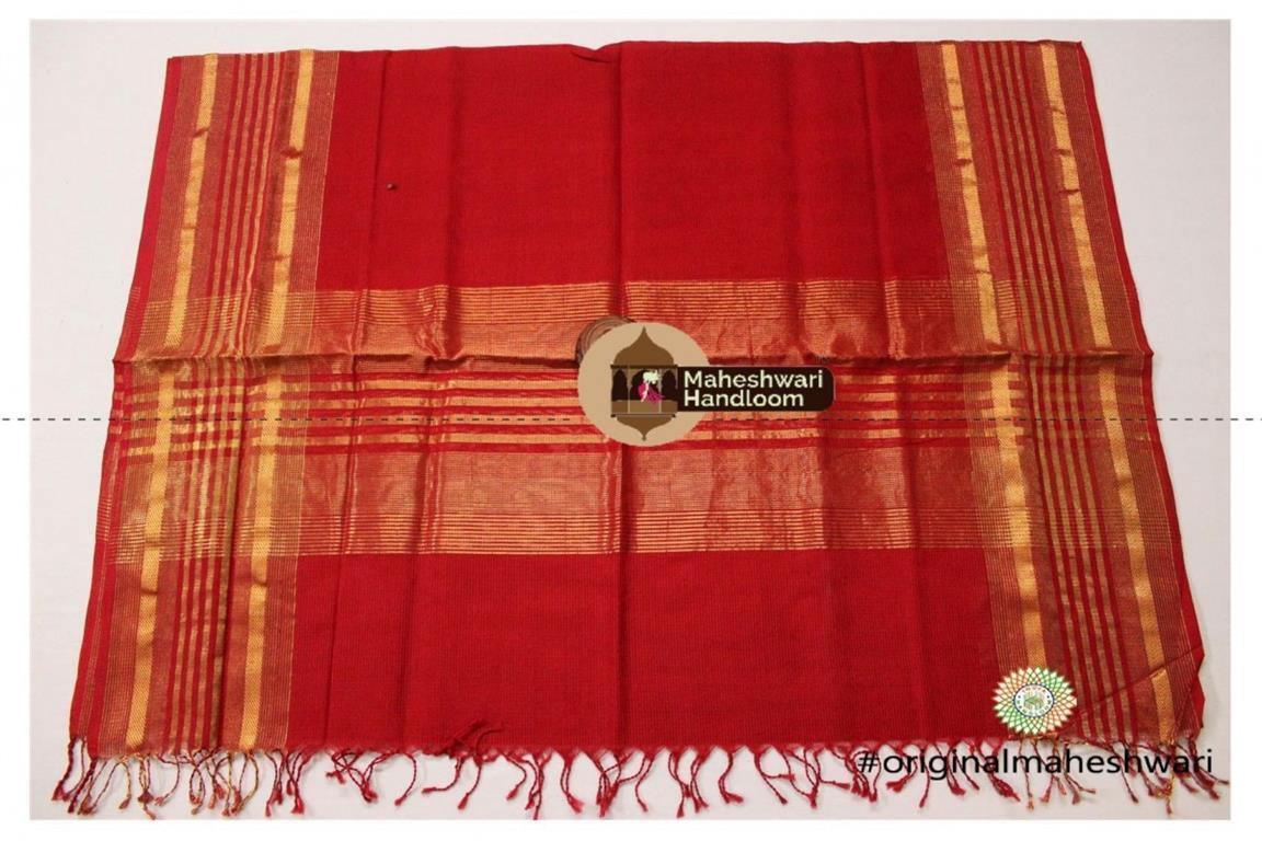 Maheshwari Red Silk Dupatta