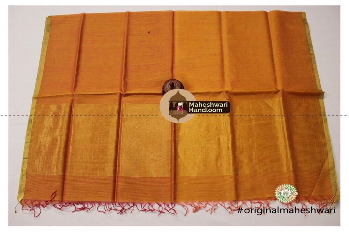 Maheshwari Golden Yellow Silk Dupatta