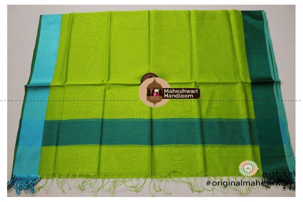Maheshwari Lime Green Silk Dupatta