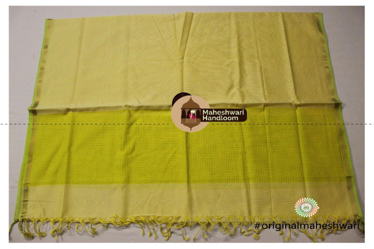 Maheshwari Yellow Green Silk Dupatta