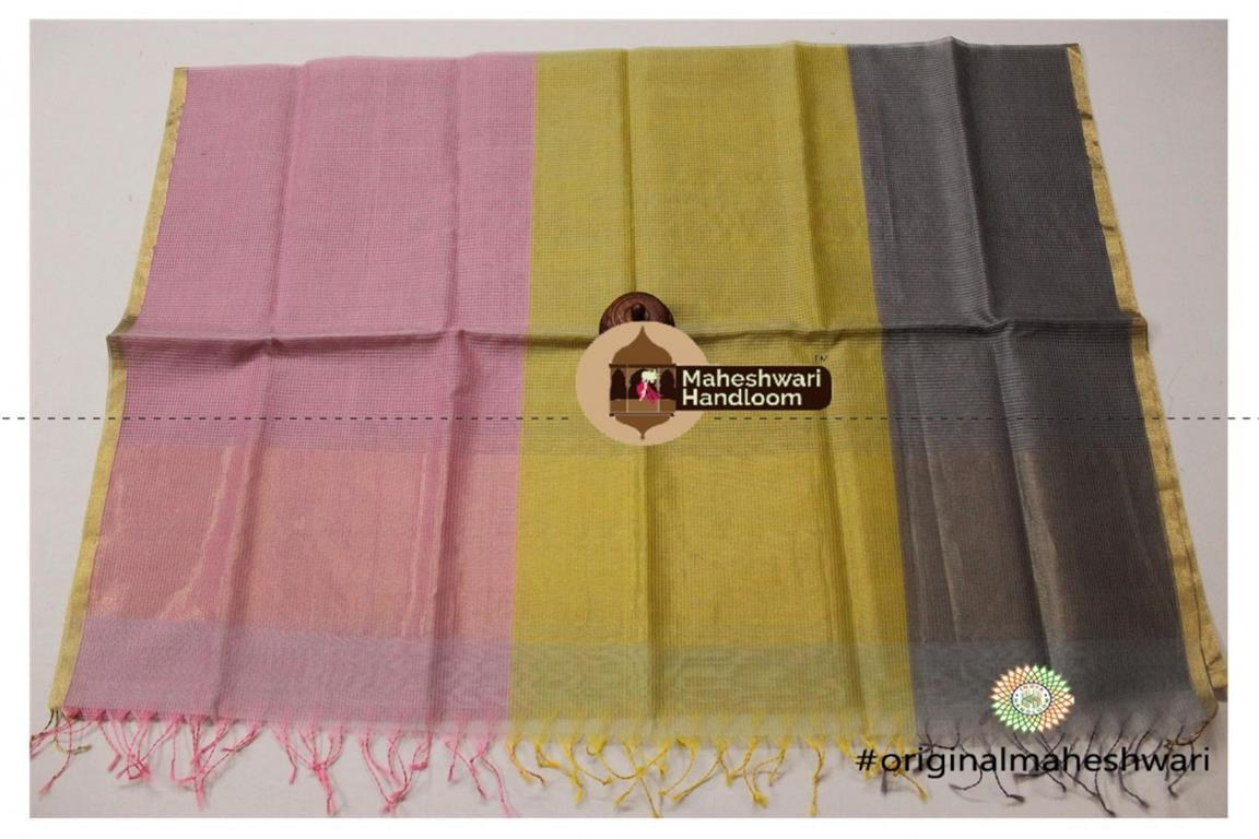 Maheshwari Multicolour Silk Dupatta