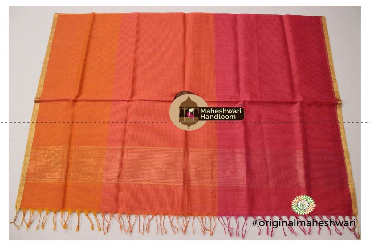 Maheshwari Orange and Pink Multicolour Silk Dupatta