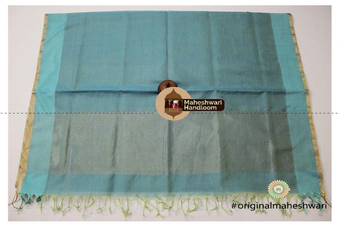 Maheshwari Sea Blue Silk Dupatta