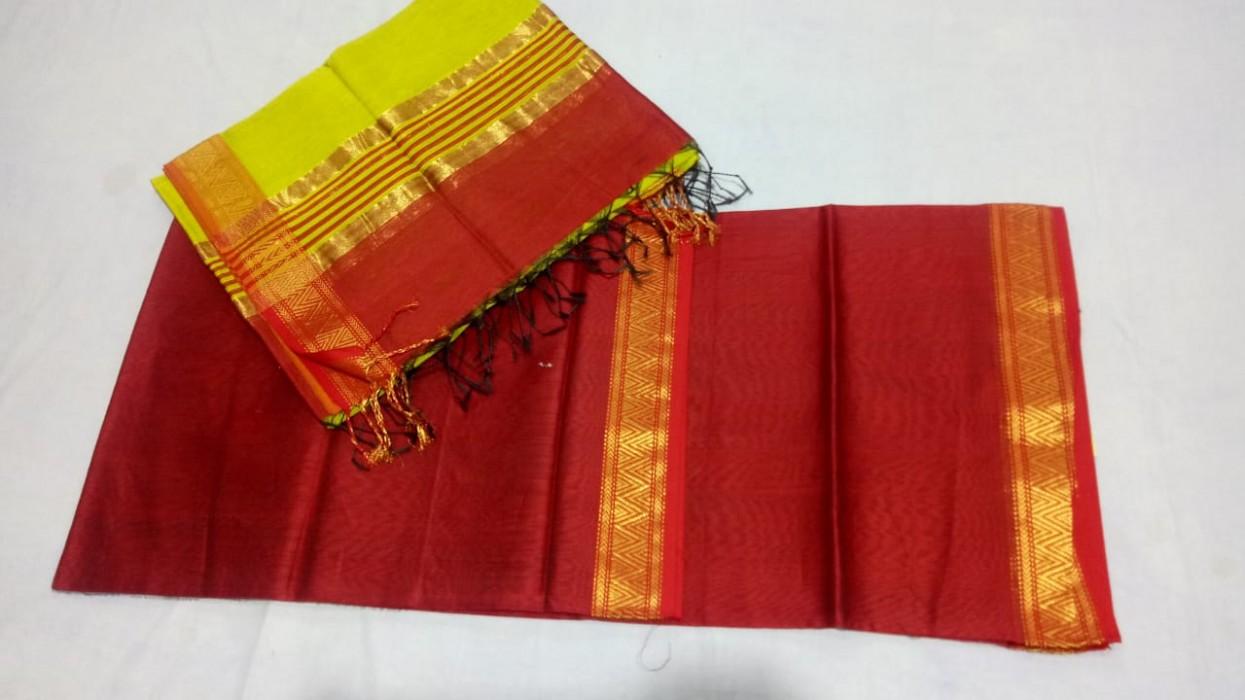 Maheshwari Red -Light Yellow Top Dupatta