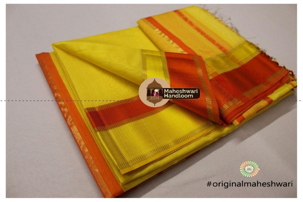 Maheshwari Yellow Ganga Jamuna Saree