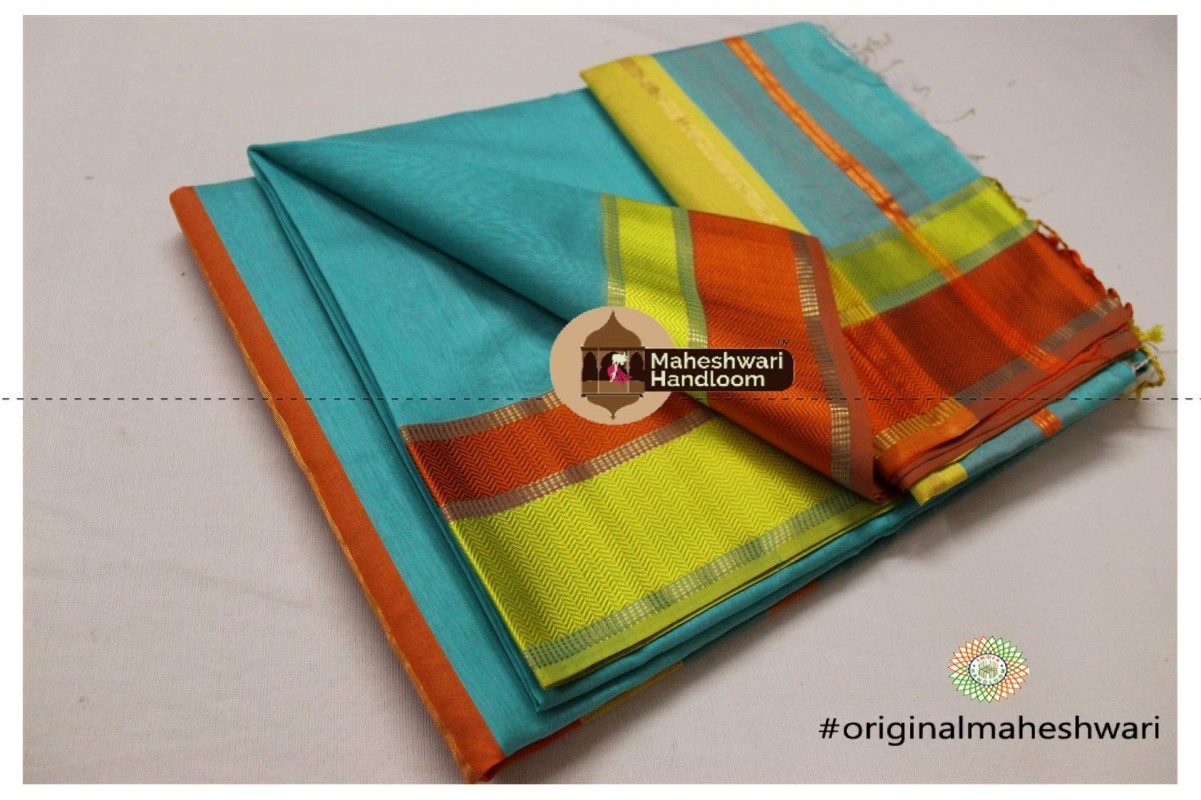 Maheshwari Sea Green Ganga jamuna saree
