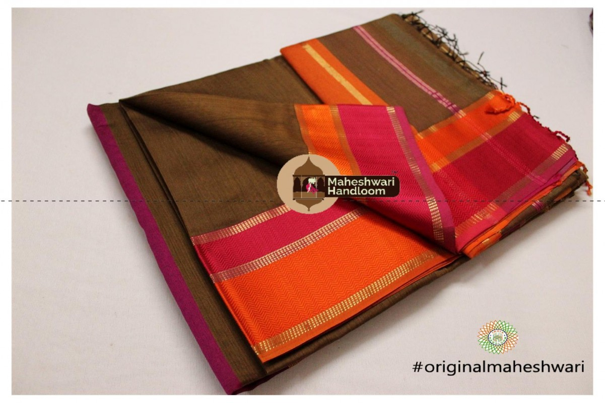 Maheshwari Brown Ganga jamuna Saree