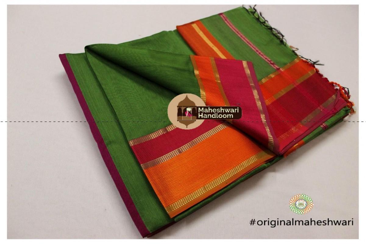 Maheshwari Mango Green Ganga Jamuna Saree