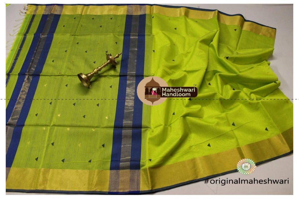 Maheshwari Parrot Green Triangle Buti - Motifs Saree