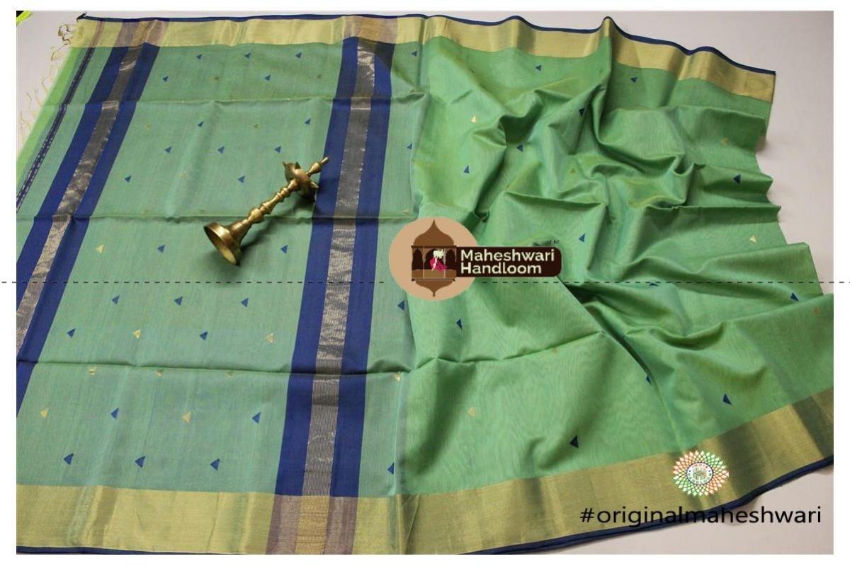 Maheshwari Pista Green Triangle Buti - Motifs Saree